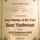 Face Painter of the Year Best Technical Design 2012 (FACE CONFERENCE)